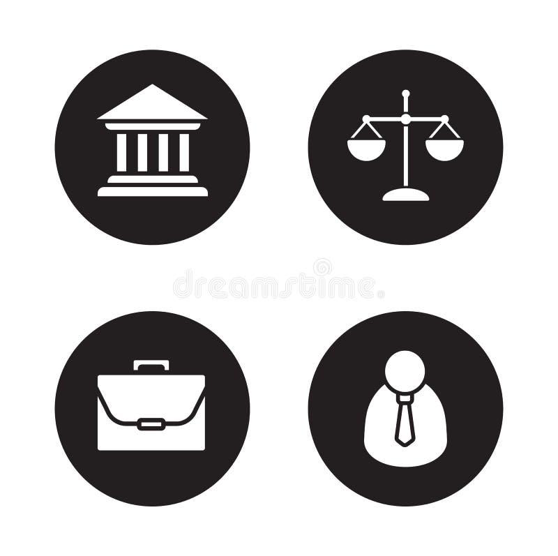 Установленные значки закона черные иллюстрация вектора