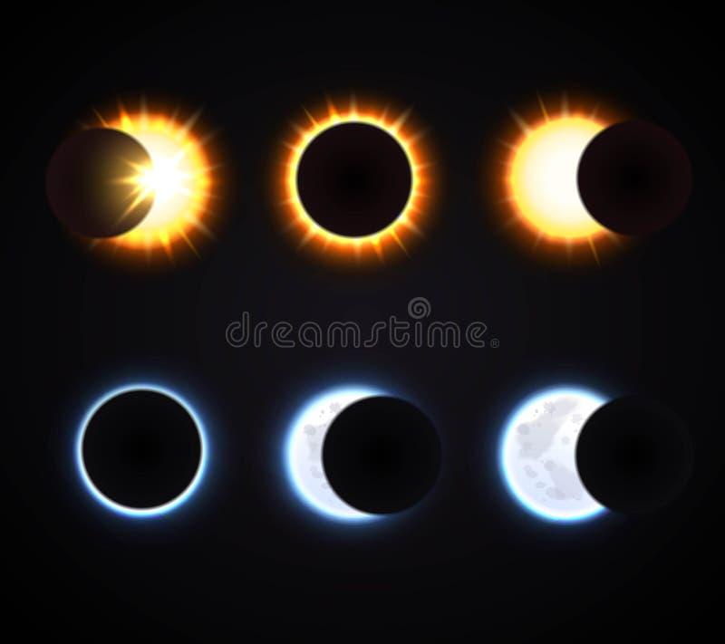 Установленные значки затмения Солнця и луны бесплатная иллюстрация