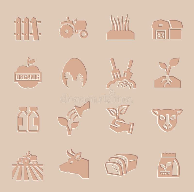 Установленные значки земледелия и сельского хозяйства вектора иллюстрация вектора