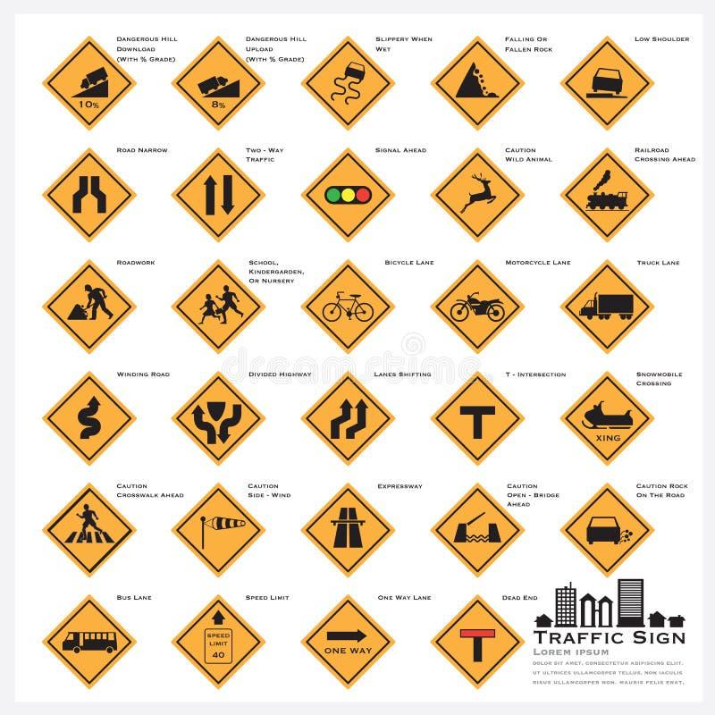 Установленные значки знака уличного движения дороги и улицы предупреждающие иллюстрация вектора