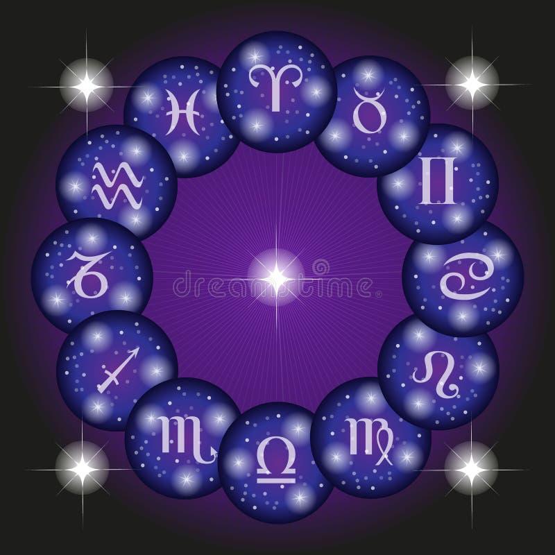 Установленные значки знаков зодиака иллюстрация вектора