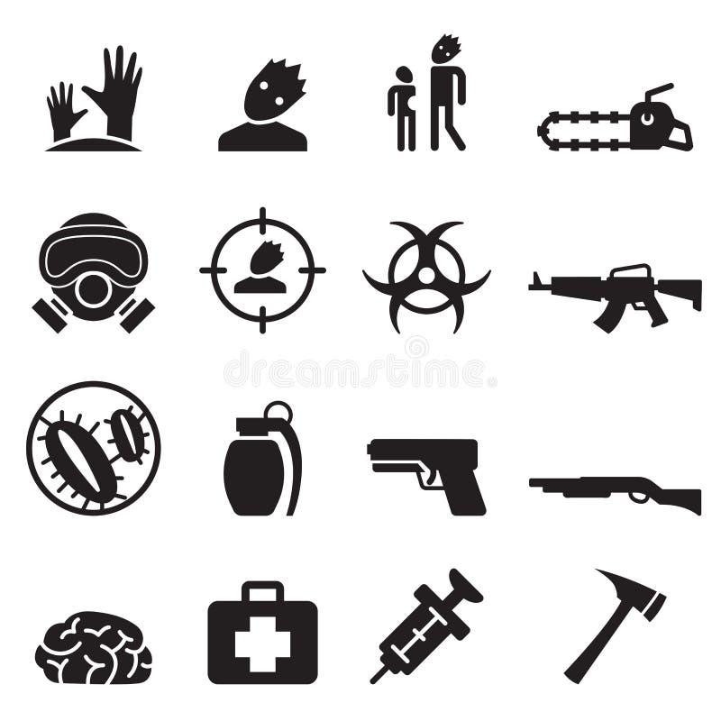 Установленные значки зомби иллюстрация вектора