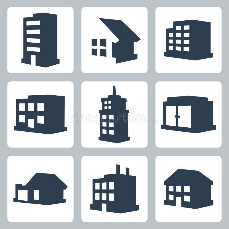Установленные значки зданий вектора иллюстрация вектора