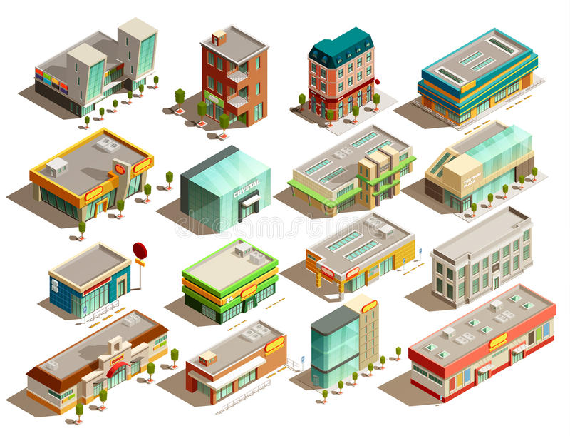 Установленные значки зданий магазина равновеликие бесплатная иллюстрация