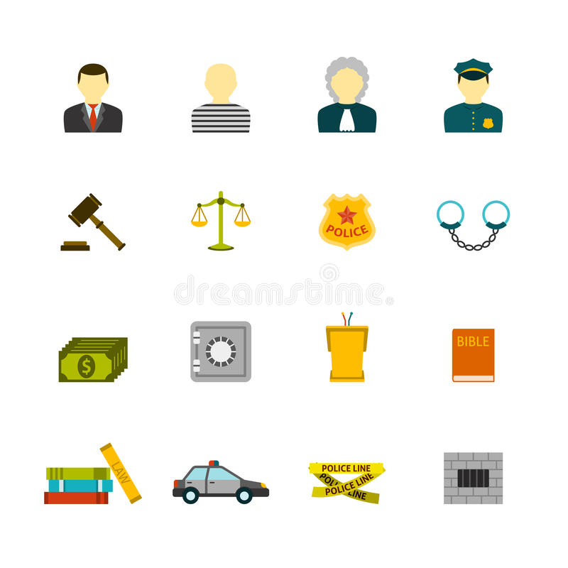 Установленные значки злодеяния и наказаний иллюстрация штока