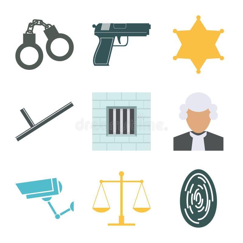 Установленные значки злодеяния и полиции Плоский дизайн вектор иллюстрация вектора