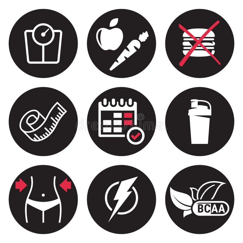 Установленные значки диеты иллюстрация штока