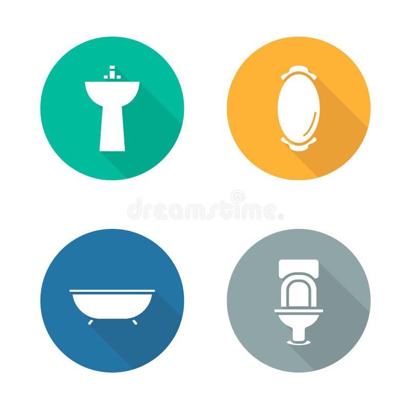 Установленные значки дизайна ванной комнаты внутренние плоские иллюстрация вектора