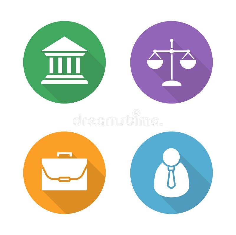 Установленные значки дизайна закона плоские бесплатная иллюстрация
