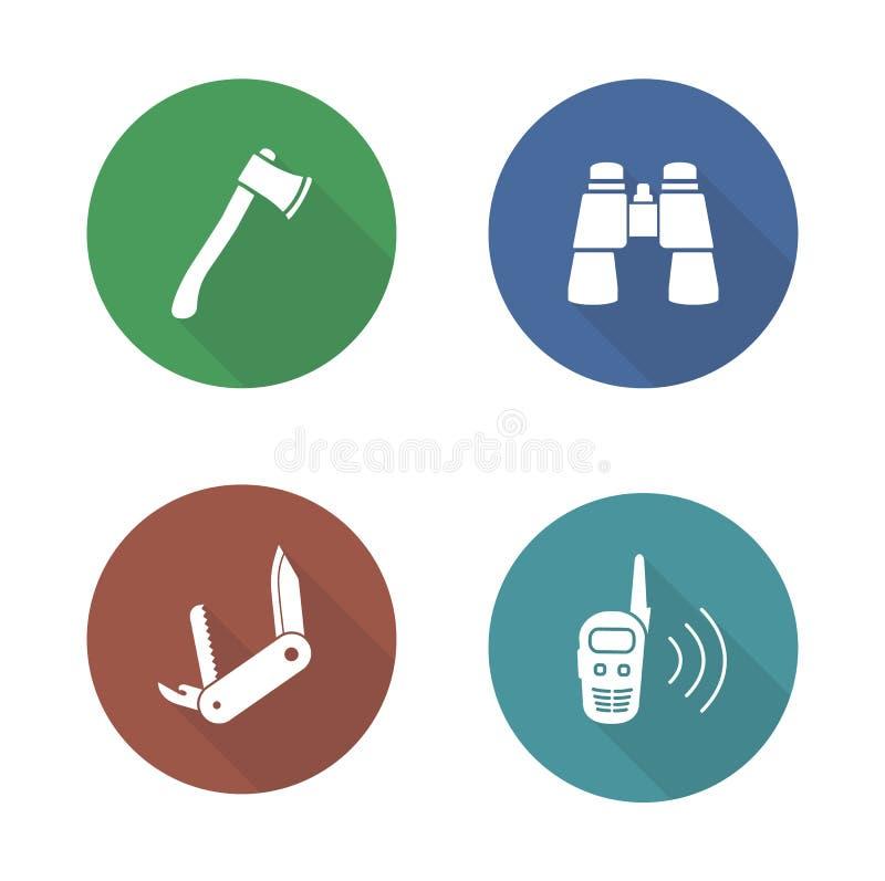 Установленные значки дизайна инструментов экспедиции плоские бесплатная иллюстрация