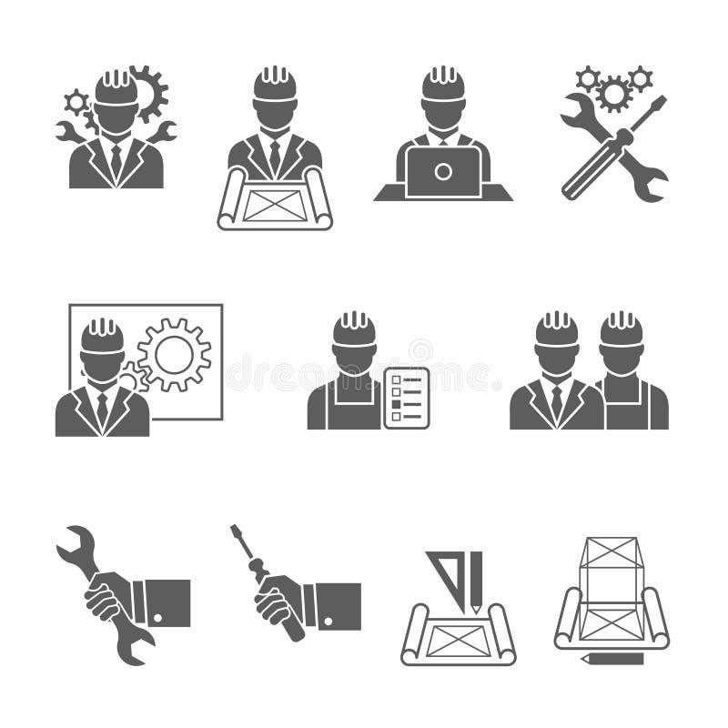 Установленные значки инженера иллюстрация вектора