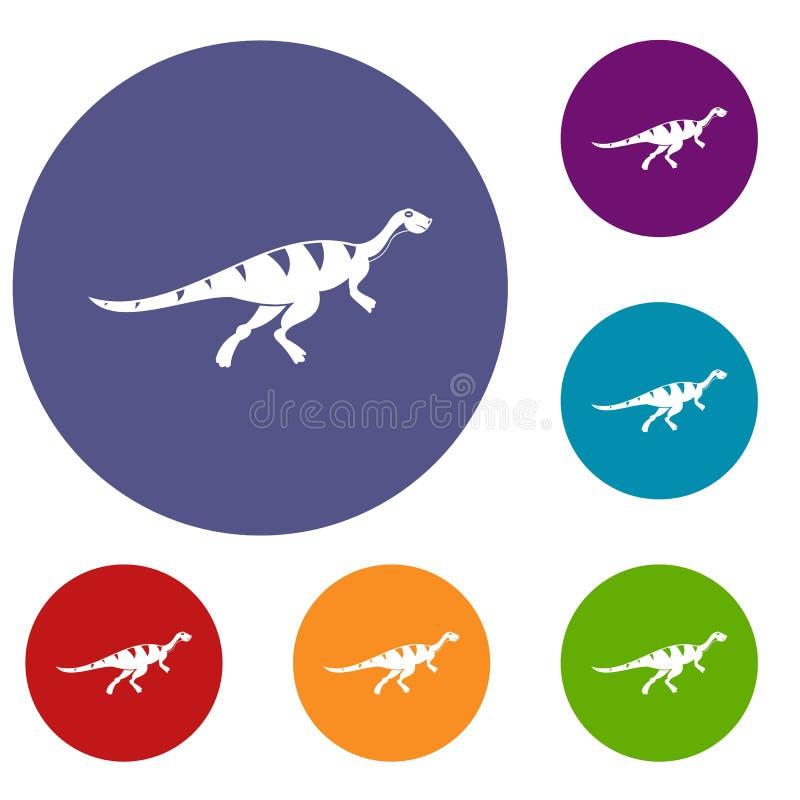 Установленные значки динозавра Gallimimus бесплатная иллюстрация