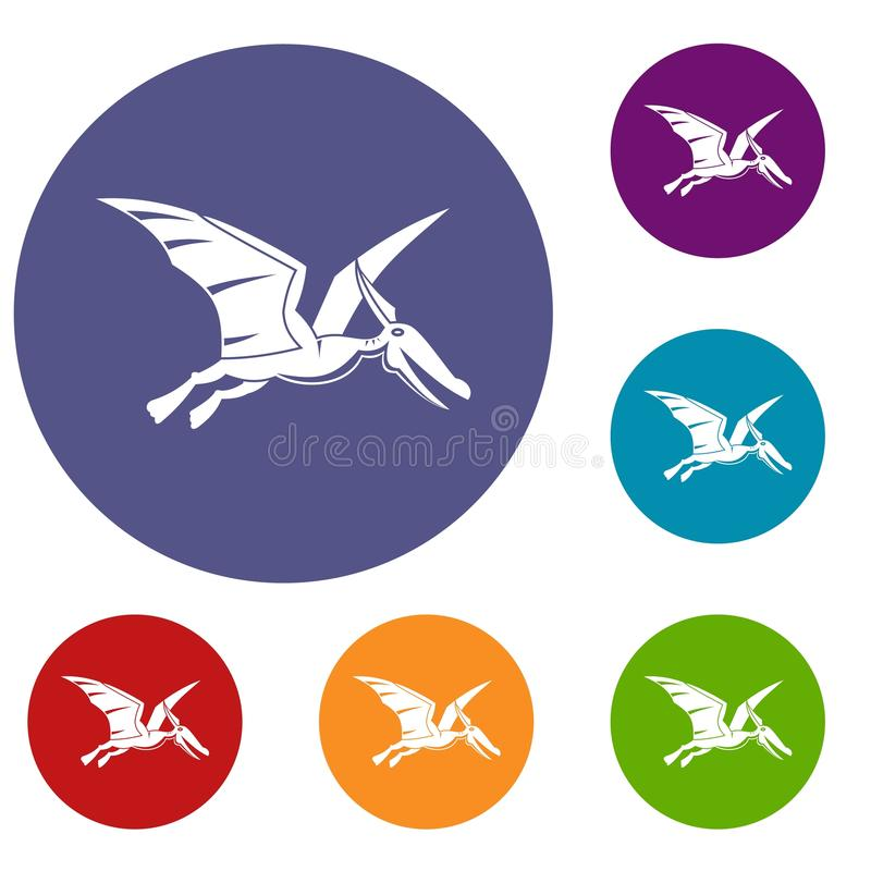 Установленные значки динозавра Pterosaurs иллюстрация штока