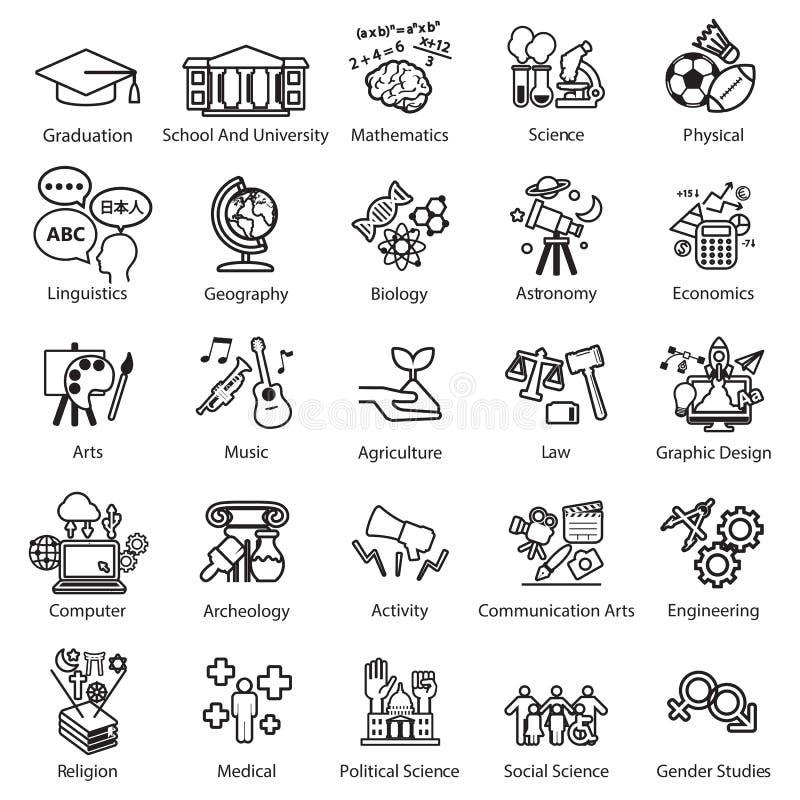 Установленные значки исследования образования иллюстрация штока