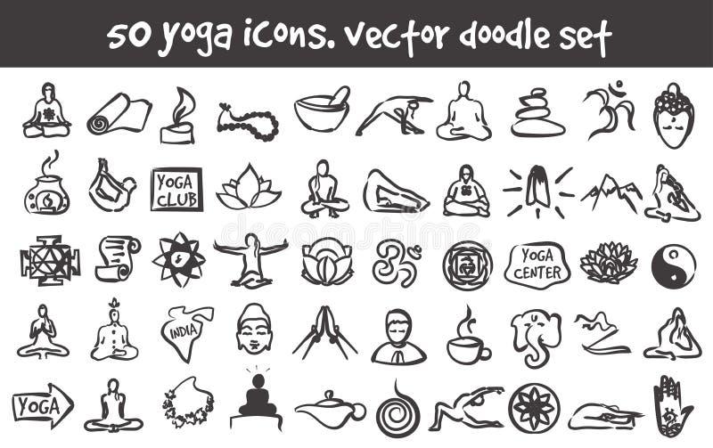 Установленные значки йоги doodle вектора бесплатная иллюстрация