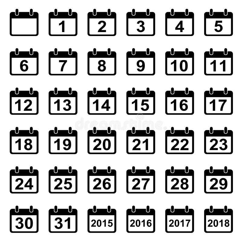 Установленные значки календарных дней иллюстрация вектора