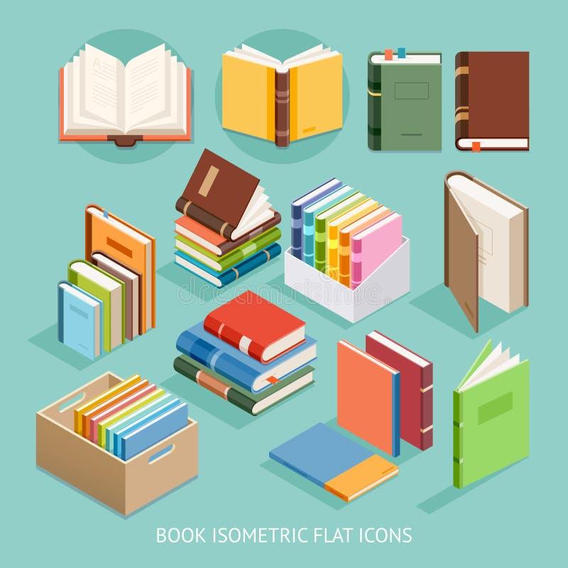 Установленные значки книги равновеликие плоские вектор иллюстрация штока