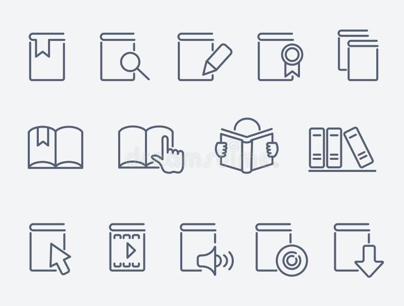 Установленные значки книги иллюстрация вектора