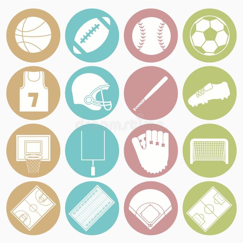 Установленные значки командных видов спорта бесплатная иллюстрация