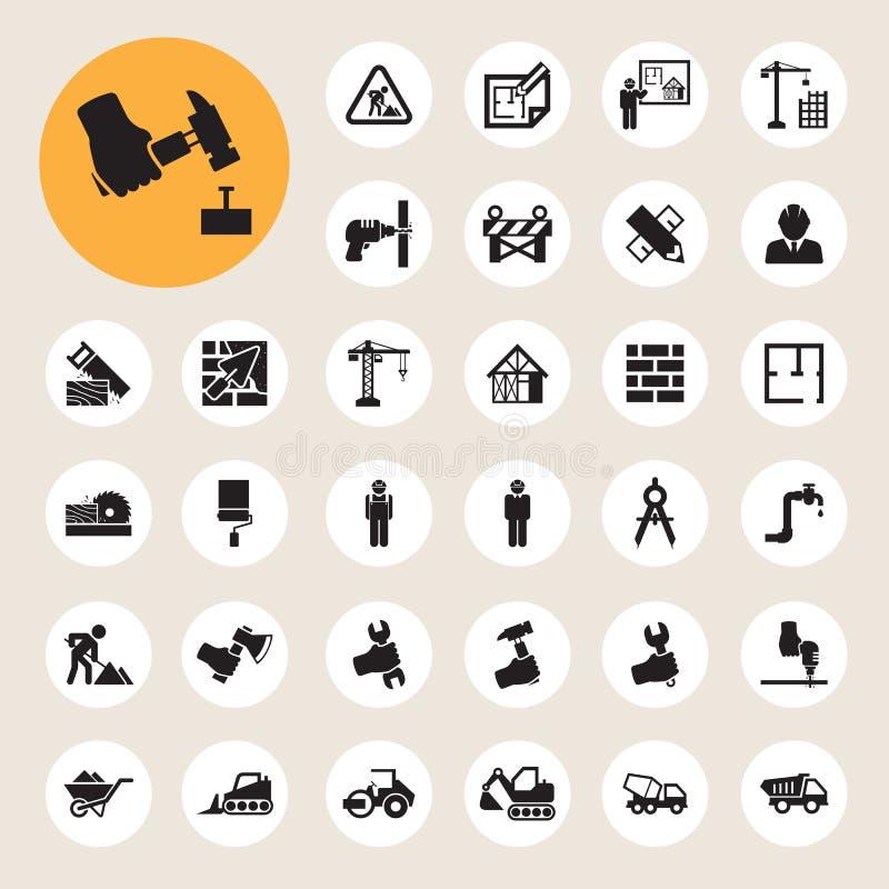 Установленные значки конструкции иллюстрация штока