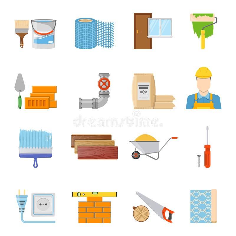 Установленные значки конструкционных материалов иллюстрация штока