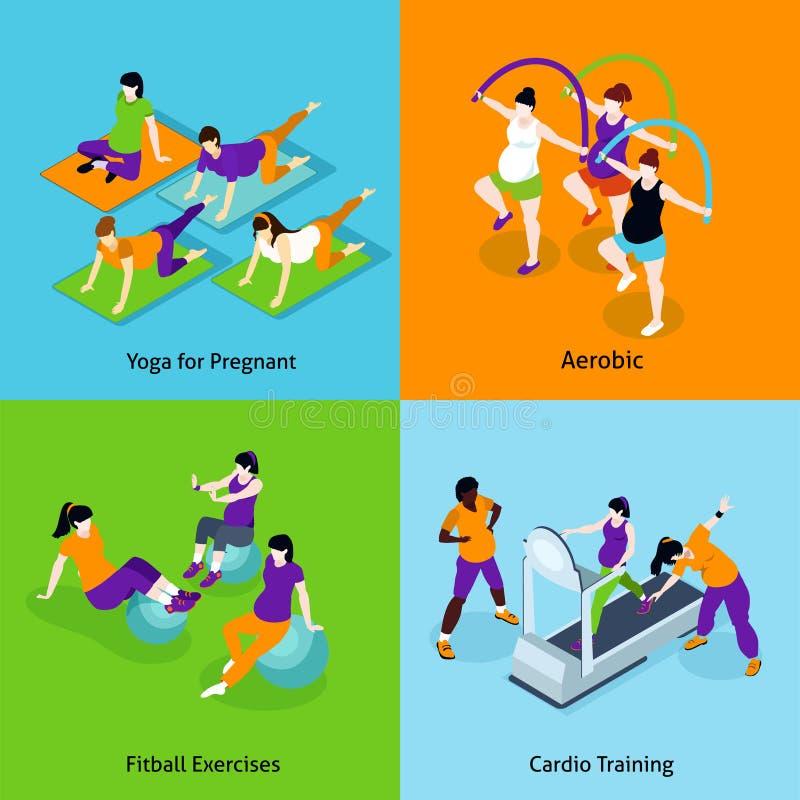 Установленные значки концепции фитнеса беременной женщины бесплатная иллюстрация