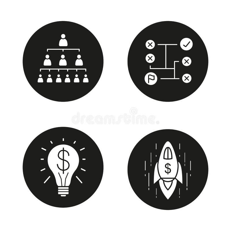 Установленные значки концепций дела иллюстрация вектора