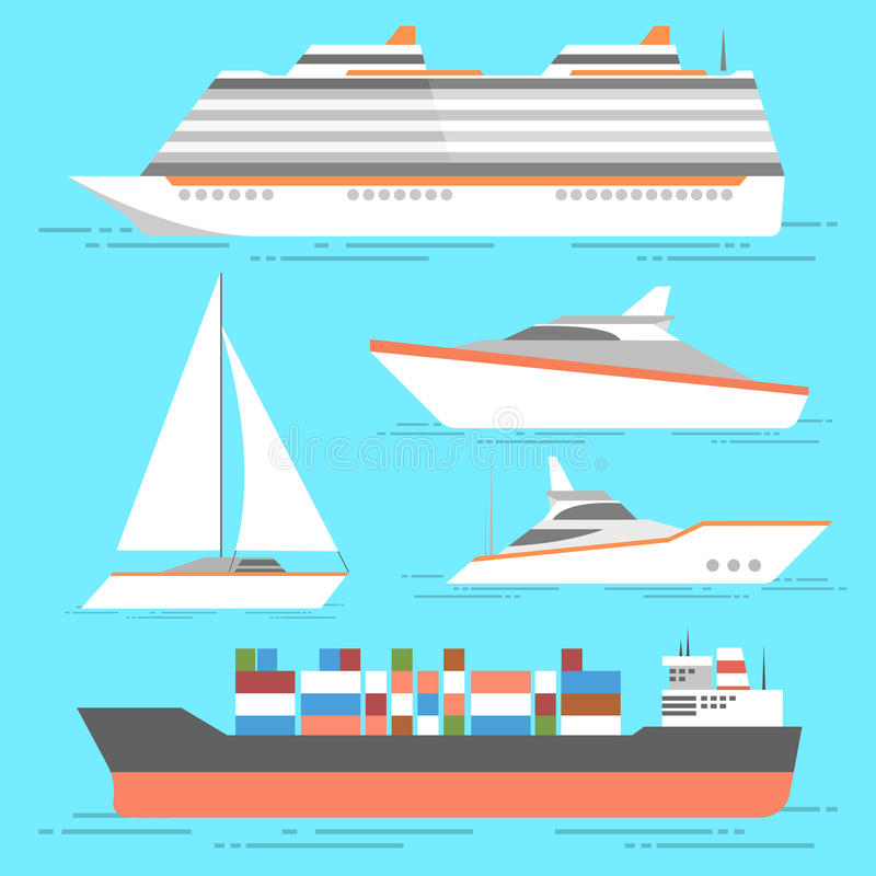 Установленные значки корабля Изолированные шлюпки вектора Океан грузит собрание бесплатная иллюстрация