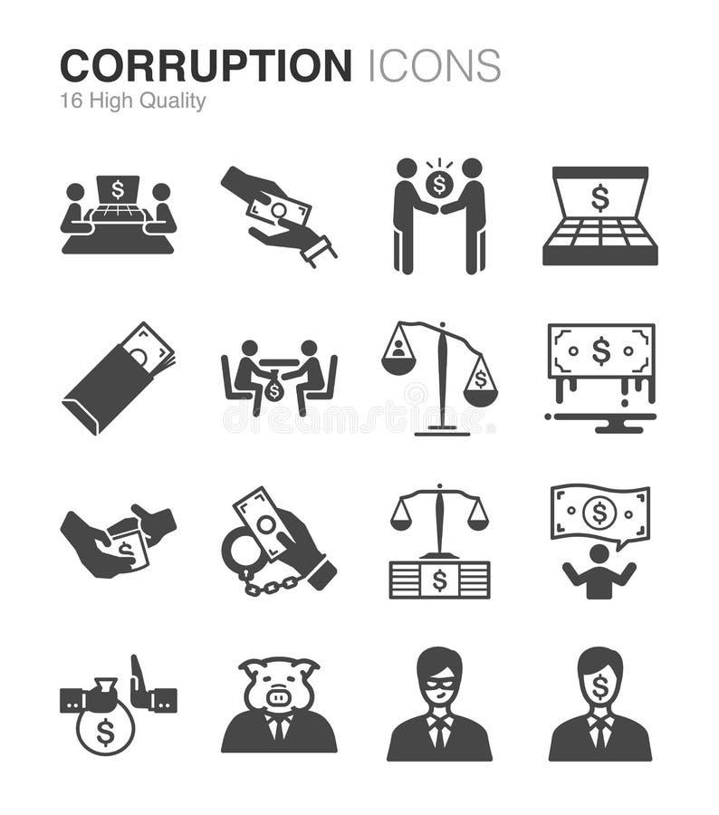 Установленные значки коррупции и взяточничества иллюстрация вектора