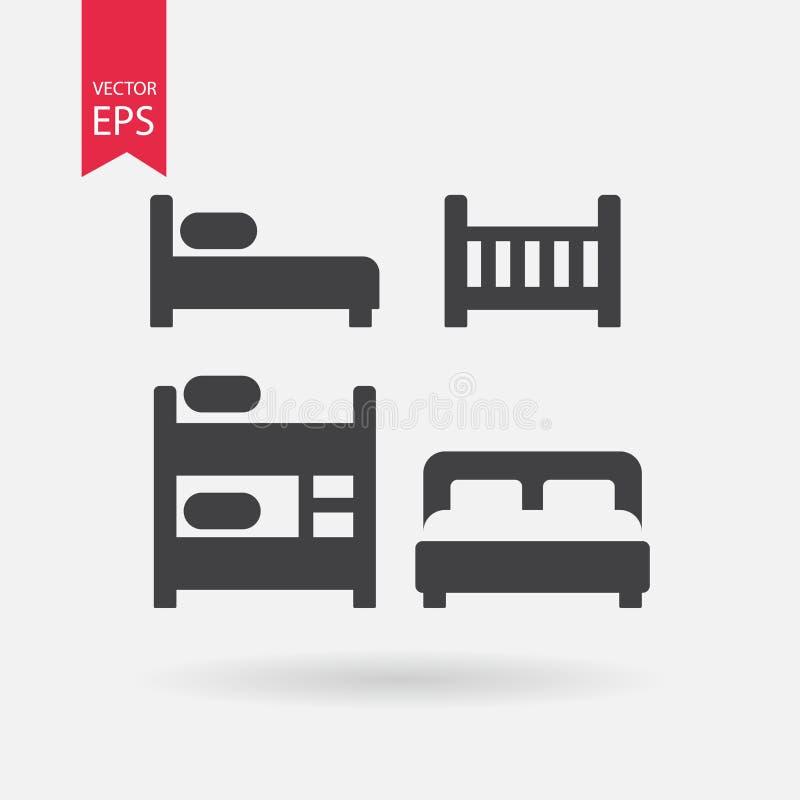Установленные значки кровати Собрание различных черных кроватей силуэта Знаки изолированные на белизне на предпосылке Плоский диз иллюстрация штока