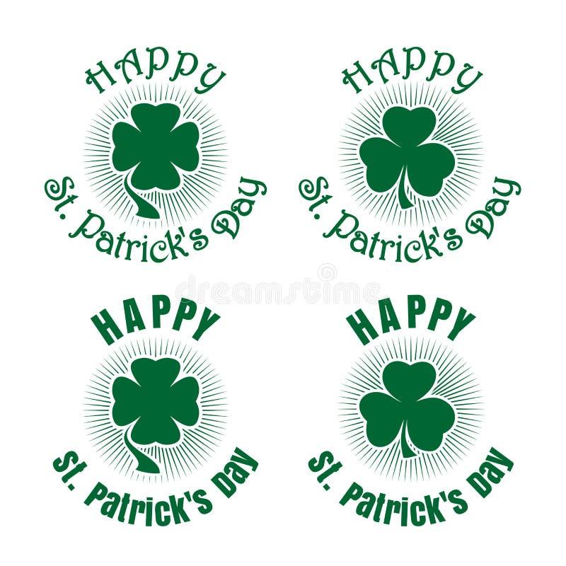 Установленные значки клевера Символ торжества на день St Patricks бесплатная иллюстрация