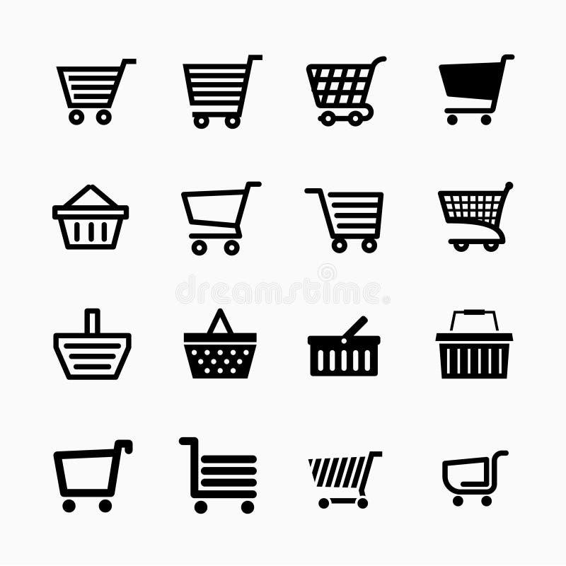 Установленные значки магазинной тележкаи, добавляют к символам вебсайта тележки бесплатная иллюстрация