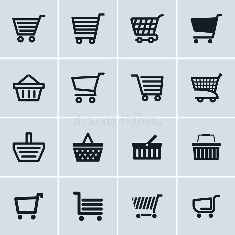 Установленные значки магазинной тележкаи, добавляют к символам вебсайта тележки иллюстрация вектора