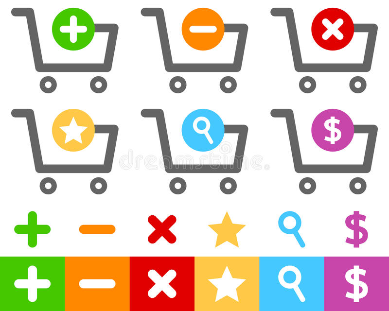 Установленные значки магазинной тележкаи плоские иллюстрация штока