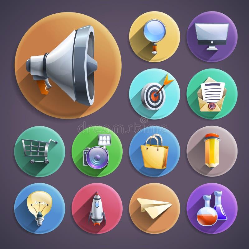 Установленные значки маркетинга цифров плоские круглые иллюстрация штока