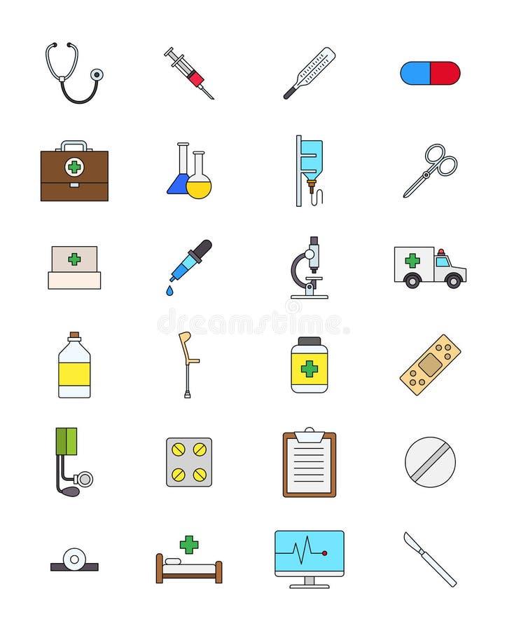 Установленные значки медицины цвета иллюстрация штока