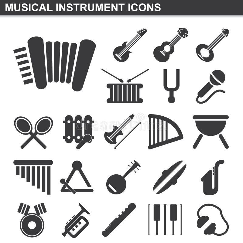 Установленные значки музыкального инструмента иллюстрация вектора