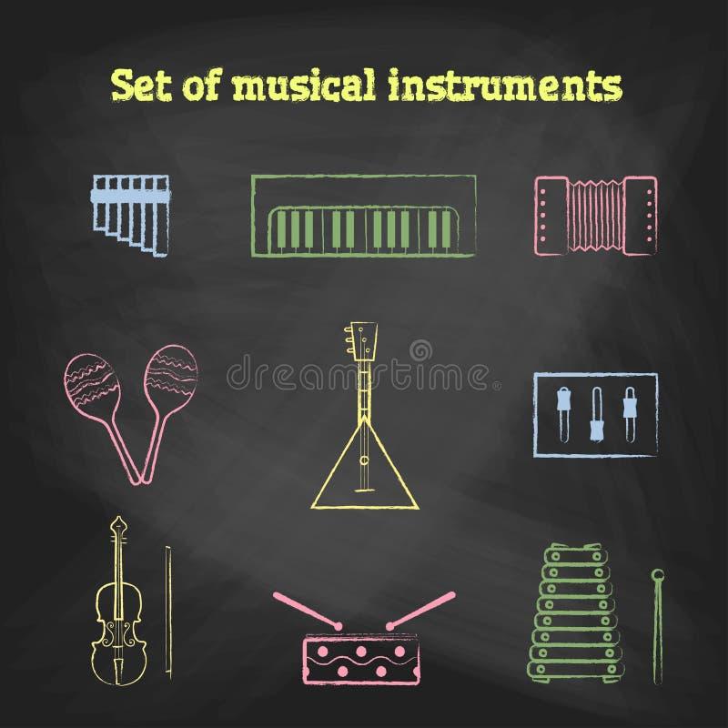 Установленные значки музыки стиля МЕЛА Собрание игрушек детей значков вектора бесплатная иллюстрация