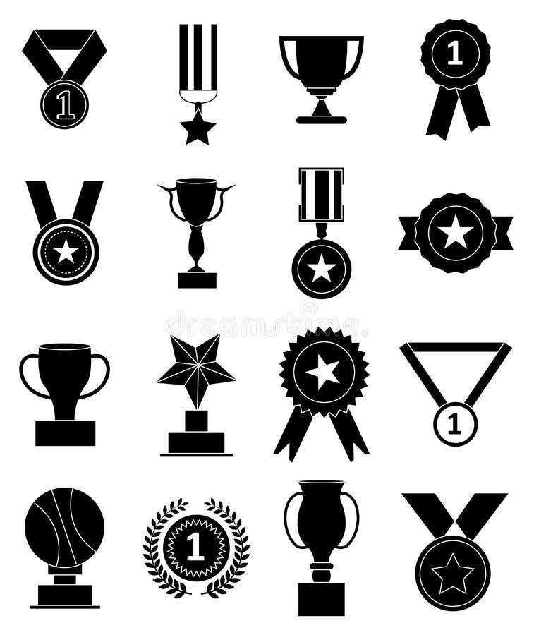 Установленные значки наград медалей иллюстрация вектора