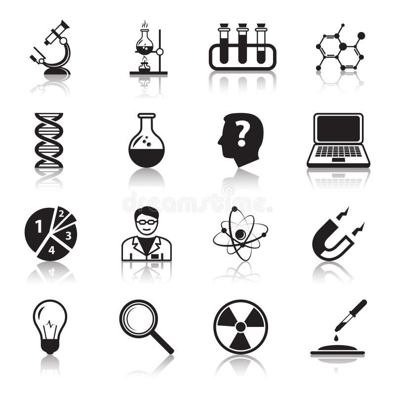 Установленные значки науки химии или биологии иллюстрация штока