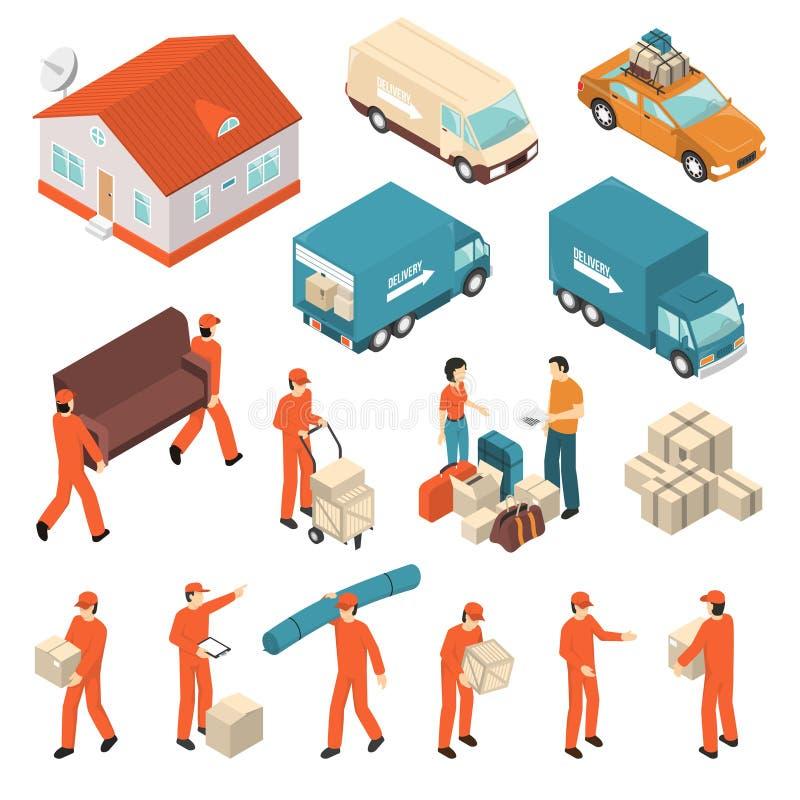 Установленные значки обслуживания транспортной компании равновеликие бесплатная иллюстрация