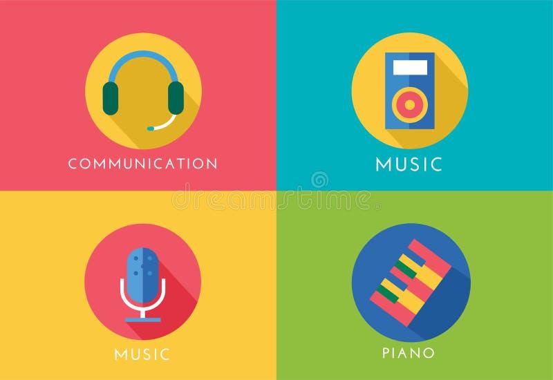 Установленные значки логотипа вектора музыки Игрок, рояль, звук иллюстрация вектора