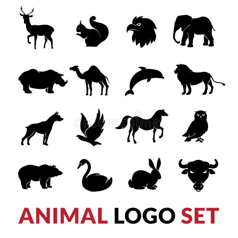 Установленные значки логотипа диких животных черные иллюстрация вектора