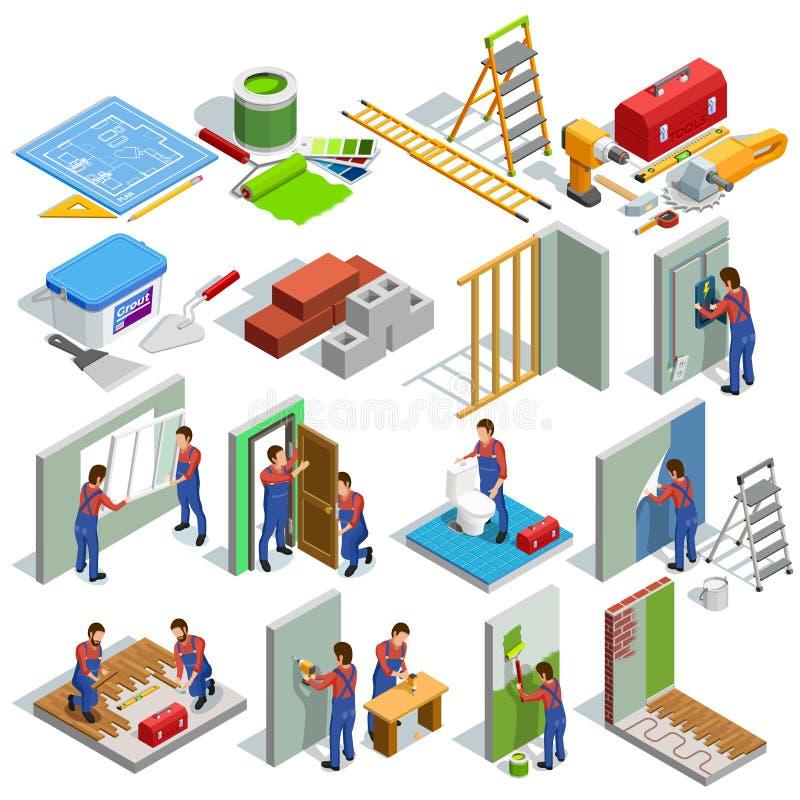 Установленные значки домашнего ремонта равновеликие бесплатная иллюстрация