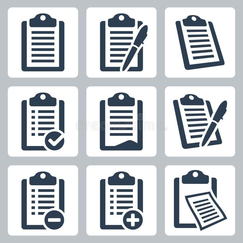 Установленные значки доски сзажимом для бумаги вектора
