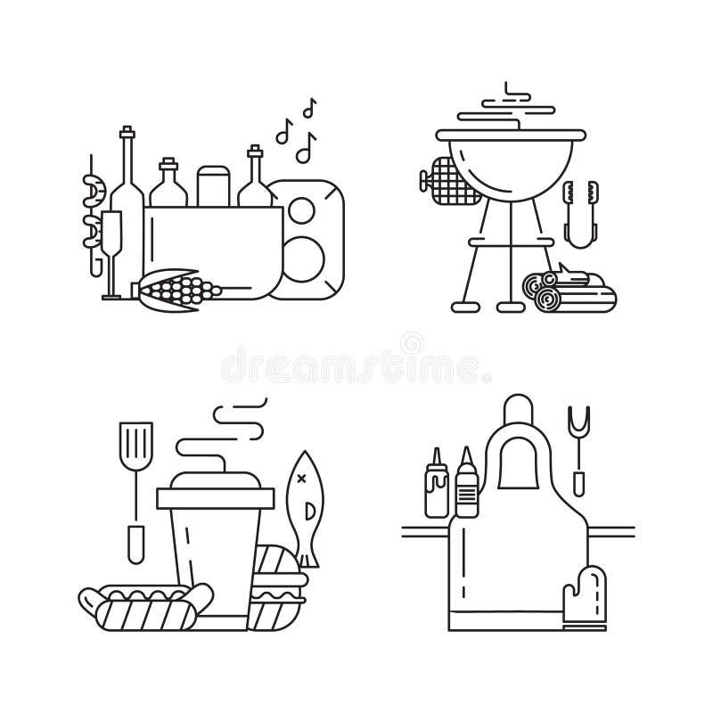 Установленные значки партии барбекю иллюстрация штока