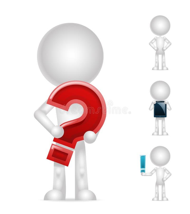 установленные значки ПК восклицательного знака вопросе о пустого характера 3d изолированные таблеткой представляют иллюстрацию ве иллюстрация штока