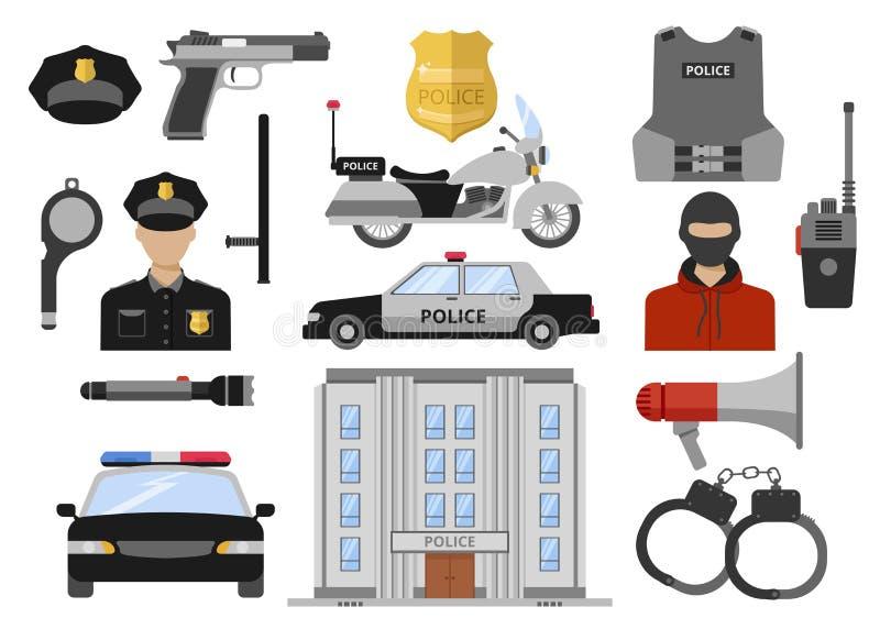 Установленные значки полиции декоративные плоские бесплатная иллюстрация