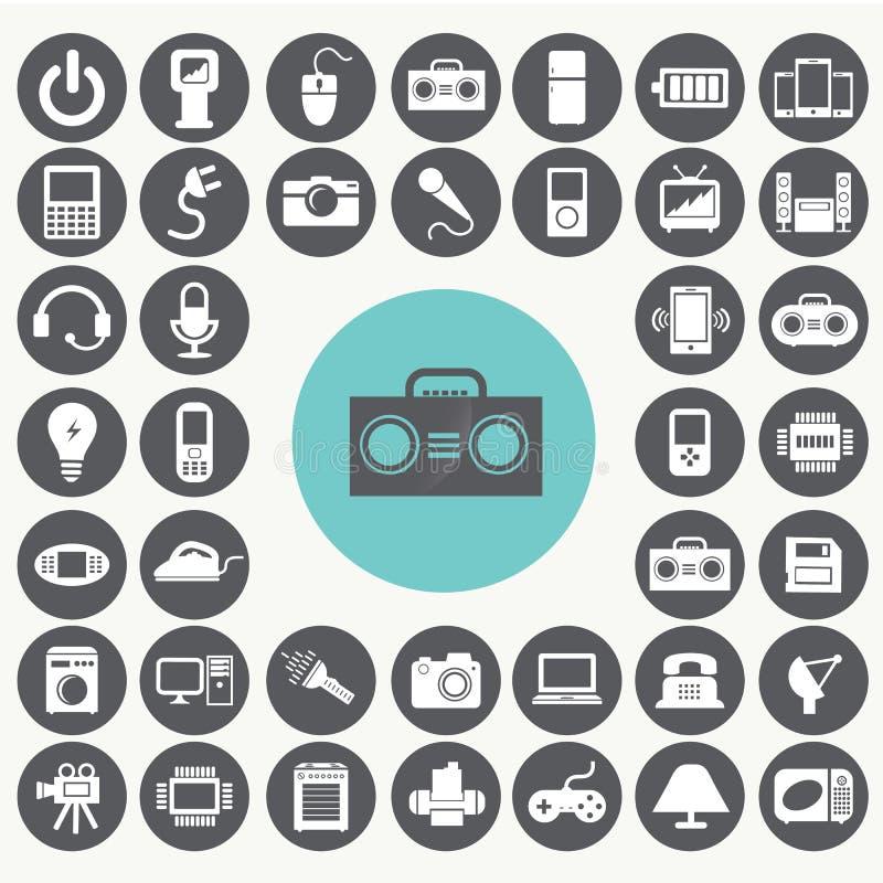 Установленные значки прибора электроники иллюстрация штока