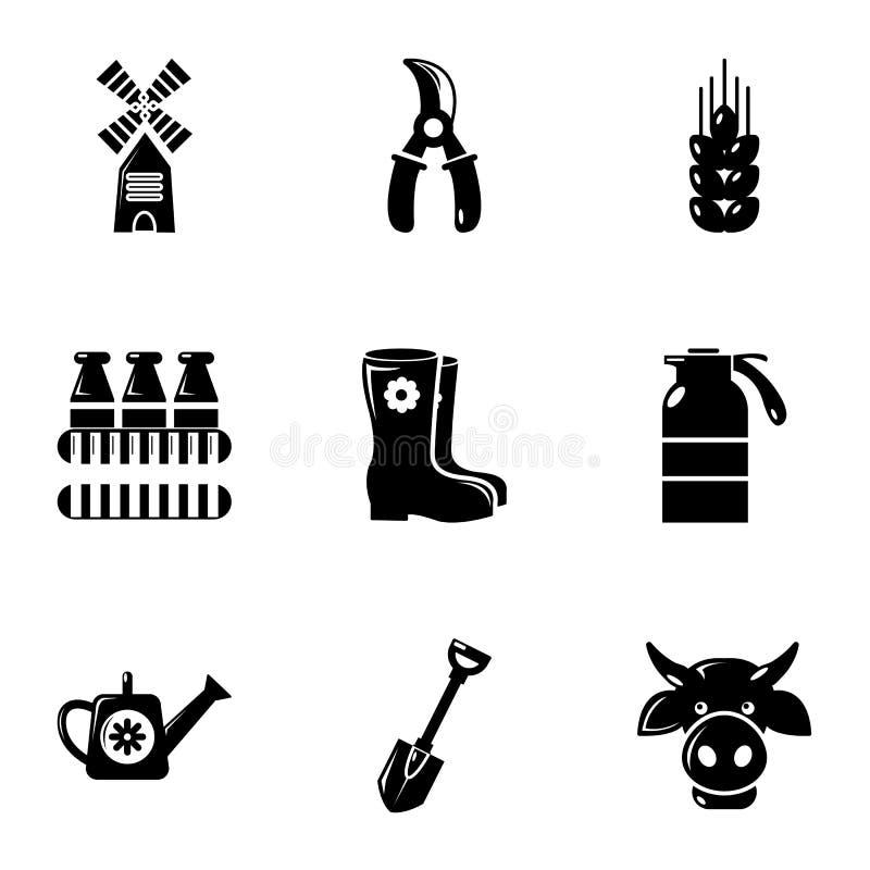 Установленные значки, простой стиль оборудования фермера бесплатная иллюстрация